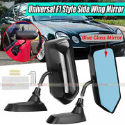 Pair F1 Style Gloss Black Car Racing Rearview Side Wing Mirrors Convex Universal