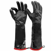 Heat Resistant Bbq Gloves, Long Sleeve Grill Gloves, Textured Gripto Handle Wet,