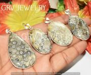 1000pcs Fossil Coral Gemstone Bezel Pendant Lot 925 Silver Plated Wh-67