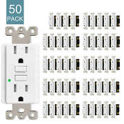 50pack 15amp Gfci Gfi Safety Outlet Receptacle Tamper Resistant Wr W/wall Plate