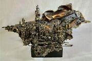 Large Mid-century Brutalist Bronze Cityscape Sculpture By Judith Brown