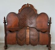 Vintage 1920's Full Headboard And Footboard With Siderails