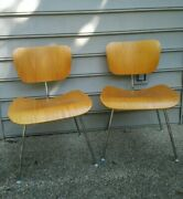 Pair Eames Herman Miller Lcm Ash Plywood Chairs - Mid Century Design