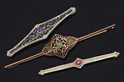 Antique 14k And 10k Gold Emerald Amethyst And Pink Paste Art Deco Bar Brooch Pins