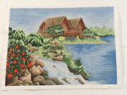 Completed Cross Stitch Hand Lake House Unframed Finished 18.5x13.5
