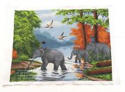 Completed Cross Stitch Hand Family Of Elephants Unframed Finished 20.5x15