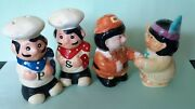 Vintage 2 Sets Chefs And Of Pilgrim And Friend Salt And Pepper Shakers
