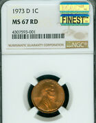 1973-d Lincoln Cent Ngc Ms 67 Red Pq Mac Finest Grade Mac Spotless .