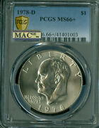 1978-d Eisenhower Dollar Pcgs Ms66+ Mac Spotless Only 4 Ms-67 At 10000.00 .
