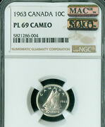 1963 Canada 10 Cents Ngc Pl-69 Cameo Pq Mac Solo Finest Grade Pl-69 Spotless .