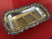 """Reed And Barton Old Colony 521 Silversmiths Footed Silverplate Oblong Tray 13 1/2"""""""