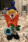 Vintage Murano Art Glass Clown 11 Speckled Legs Green Glass Buttons Blue Ring