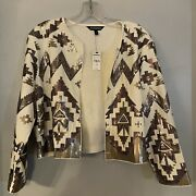 Express Womens White Silver Sequin Shrug Holiday Party Blazer Jacket L Large