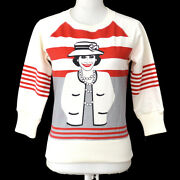 01a 36 Cc Mademoiselle Long Sleeve Sweat Shirt White Red Cotton 00727