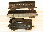 Marx Lot Of 3 Freight Cars Gondolas And Tender For Restoration