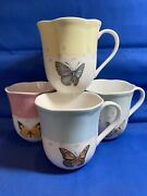 Set 4 Lenox Butterfly Meadow Coffee Cups Blue Pink Yellow Green Scalloped Edge.