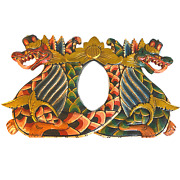 Balinese Twin Naga Dragon Panel Wall Art Architectural Relief Carved Wood Bali