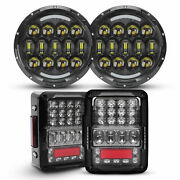 For Jeep Jk 2007-2018 Combo 7 Round Led Headlights Halo Drl+rear 4d Tail Lights