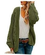 Womens Oversized Chunky Open Front Cardigan Sweaters Cable Knit Long Sleeve