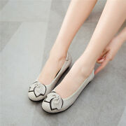 Lady Round Toe Bows Casual Ballet Flats Soft Leather Loafer Work Boat Flat Shoes
