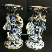 Meissen Porcelain Pair Of Blue And White Center Pieceswith Figurines