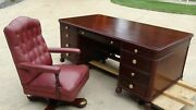 Antique 1938 Stow Davis Executive Desk With Matching Chair