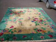 Stunning Golden Yellow Antique 1920and039s Nichols Chinese Art Deco Rug 9x12
