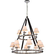 Equestrian With Shades Horseshoe Nickel Country Cottage Chandelier 12 Light 47