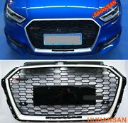 For 2017-2020 Audi A3 S3 Rs3 Style Grille Front Hood Henycomb Bumper Grill Chrom
