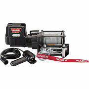 Warn 12v Dc Powered Electric Utility Winch- 4000-lb Cap Galvanized Steel Wire