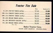 Vintage Advertising Postcard Baker Tractor Corp. Tractor Tire Sale Swansea, Ma
