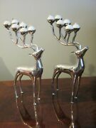 Set Of 2 Vintage Godinger Silver Plated Reindeer Candle Holders With Candles