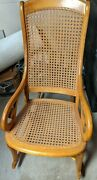 Antique Empire Furniture Lincoln Sewing Rocker Caned Rocking Chair