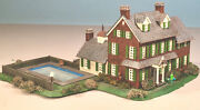 N Scale Building Assembled - Colonial Stone/slate House W/ Pool, 3 Story