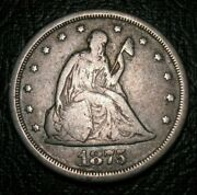 Old Us Coins Silver 1875 S Liberty Seated Obsolete Twenty Cent Piece 20 C