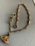 """Antique Victorian 12k Gold Fill Watch Chain 8"""" And Gf Fob Wax Seal Initials C H B"""