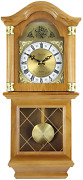 New Bedford Golden Oak Finish 26 Grandfather Wall Clock With Pendulum And 4 Chime