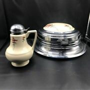 1930andrsquos Royal Rochester Poppy Pattern Porcelain Top Waffle Iron And Syrup Dispenser