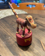 Vintage Wooden Dog Thumb Puppet Push Toy