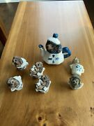 Stone Critters Handpainted Tea Cup Hedgehods Collection X 7 Great Condition