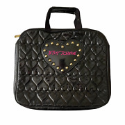 Betsey Johnson Laptop Bag Black Quilted Hearts Studded