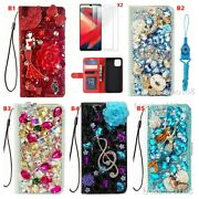For Samsung Galaxy S21 Fe Bling Glitter Slots Flip Wallet Leather Phone Case