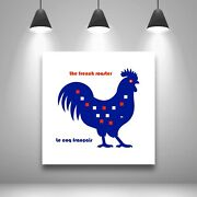 Square Pn Le Coq French Pop Art Painting Animal Deco Blue White Red A9