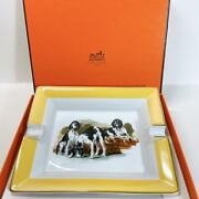 Hermes Ashtray Accessory Case Dogs White Yellow Square Plate Mini Tray Porcelain