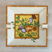 Hermes Siesta Ashtray Pottery Flower Butterfly Yellow Plate Mini Tray White