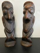 Pair Noumea New Caledonia Hand Carved Wood Figures Sculptures 1920's