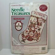 Stocking And Ornament Counted Cross Stitch Christmas Needle Treasures 10x16 Santa