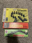 Vintage Lot Of Wooden Dominoes . Dragon Dominoes, Halsam Double Six . 3 Full Box