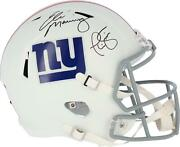 Phil Simms And Eli Manning Ny Giants Signed Flat White Alternate Replica Helmet