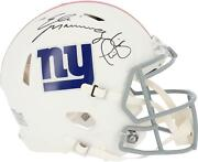 Phil Simms And Eli Manning Ny Giants Signed Flat White Alternate Authentic Helmet